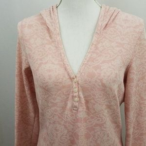 Lucy Thermal Pullover Hoodie Pink Floral Large